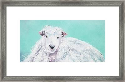 Sheep Painting - Jeremiah Framed Print by Jan Matson