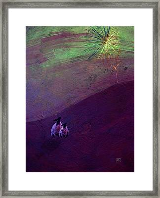 Framed Print featuring the digital art Sheep Watch The Fireworks  by Jean Moore