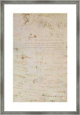 Sheet Of Studies Of Foot Soldiers And Horsemen In Combat, And Halbards Framed Print