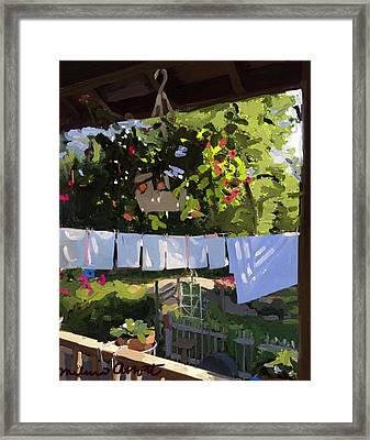 Sheets And Pillow Cases On The Line With Lantana Flowers Framed Print