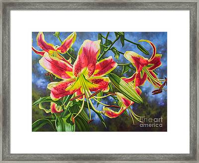Sheherazade Lilies 1 Framed Print by Fiona Craig