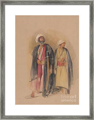 Sheik Hussein Of Gebel Tor And His Son Framed Print