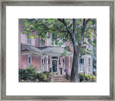 Sheila's Pink House Framed Print