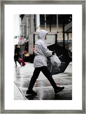 Framed Print featuring the photograph Sheild Of Rain  by Empty Wall