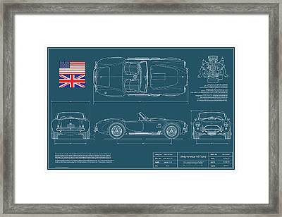 Shelby American 427 Cobra Blueplanprint Framed Print