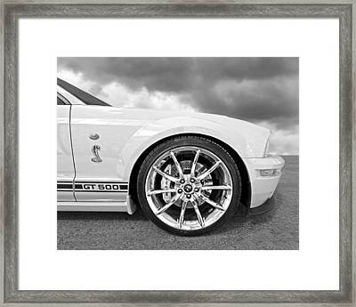 Shelby Gt500 Wheel Black And White Framed Print by Gill Billington