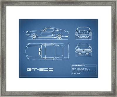 Shelby Mustang Gt500 Blueprint Framed Print by Mark Rogan