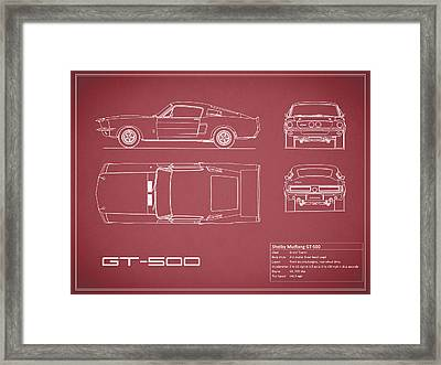 Shelby Mustang Gt500 Blueprint - Red Framed Print by Mark Rogan