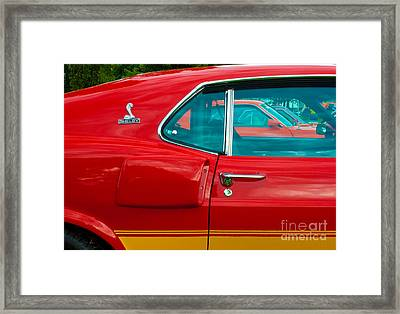 Red Shelby Mustang Side View Framed Print