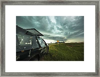 Framed Print featuring the photograph Shelf Cloud Near Vibank Sk. by Ryan Crouse