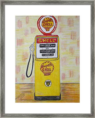 Framed Print featuring the painting Shell Gas Pump by Kathy Marrs Chandler