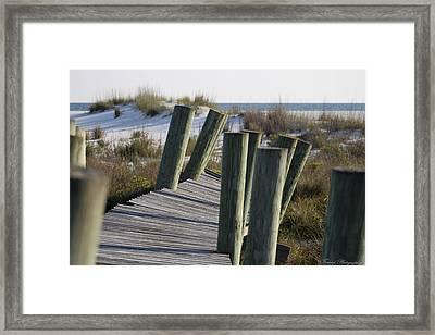 Shell Island Boardwalk Framed Print by Debra Forand