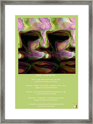 Shelley - A Self Portrait Poster Framed Print by Shelley Bain