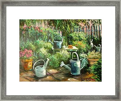 Shelley's Garden Framed Print by Sally Seago