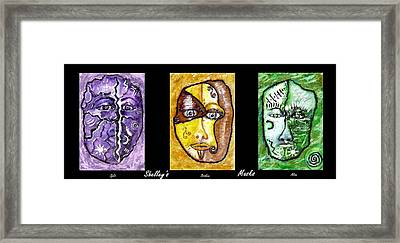Framed Print featuring the painting Shelleys Mask Split Broken Alive by Shelley Bain
