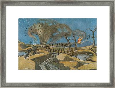 Shelling The Duckboards Framed Print by Paul Nash