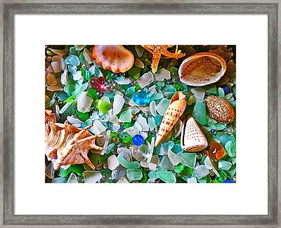 Shells And Glass Framed Print