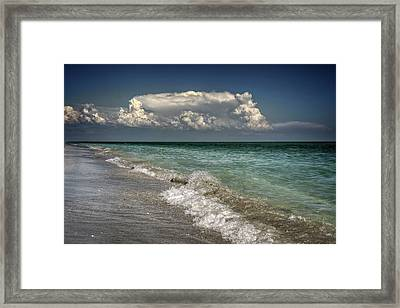 Shells, Surf And Summer Sky Framed Print