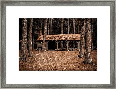 Shelter In The Woods Framed Print