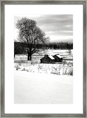 Shelters In The Snow Framed Print