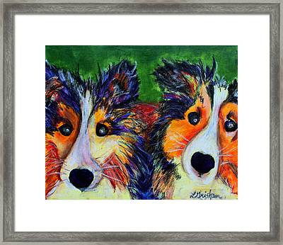 Framed Print featuring the painting Sheltie- Whisper And Secret by Laura  Grisham