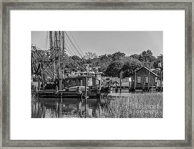 Shem Creek Black And White Framed Print by Dale Powell