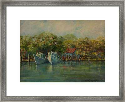 Shem Creek Boats Framed Print