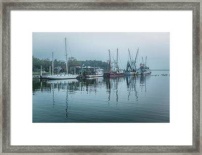 Shem Creek Fog Framed Print