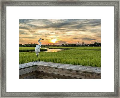 Shem Creek Pier Sunset Framed Print