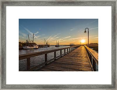 Shem Creek Pier Sunset - Mt. Pleasant Sc Framed Print