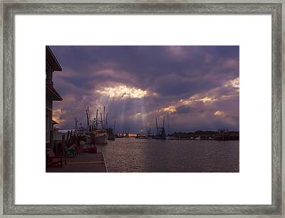 Shem Creek Sunset Framed Print by Linda Morland