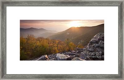 Shenandoah National Park Sunset Black Rock Framed Print by Dustin K Ryan