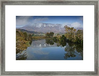 Shenandoah River South Fork - Snow On The Mountains - Virginia Framed Print