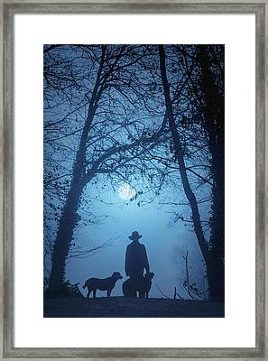 Shepherd And His Dogs Along The River Tamar Framed Print by Maggie McCall