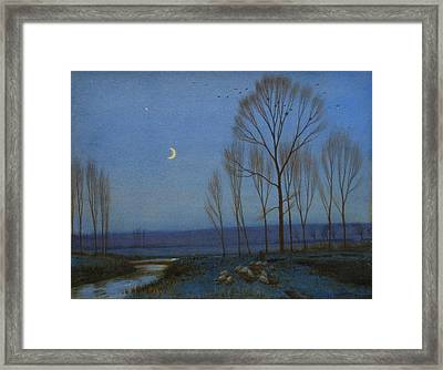 Shepherd And Sheep At Moonlight Framed Print