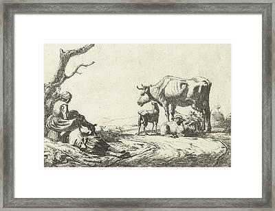 Shepherd And Shepherdess With Cattle Framed Print by Adriaen van de Velde