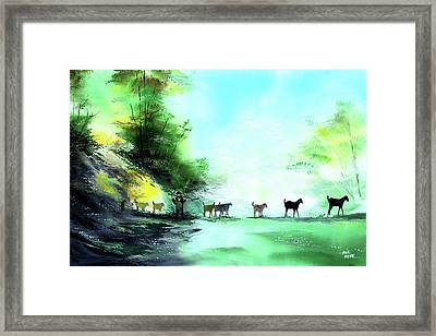 Framed Print featuring the painting Shepherd by Anil Nene