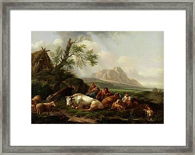 Shepherd With Cows Framed Print by Artists Of 18 - Th Century