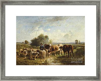 Shepherd With His Sheep Framed Print by Celestial Images