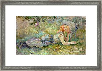 Shepherdess Resting Framed Print