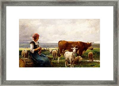Shepherdess With Cows And Goats Framed Print by Julien Dupre