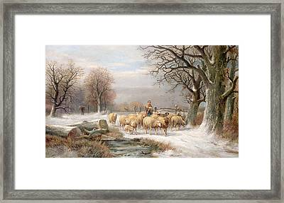 Shepherdess With Her Flock In A Winter Landscape Framed Print