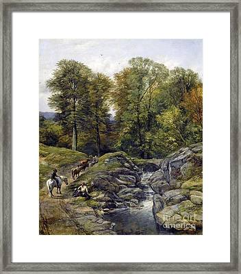 Shepherds Next To A Brook Framed Print