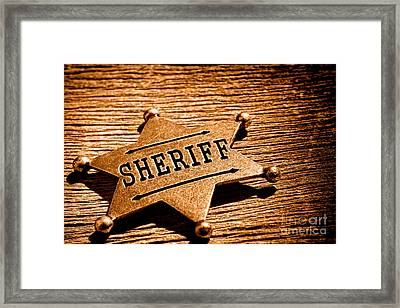 Sheriff Badge - Sepia Framed Print by Olivier Le Queinec
