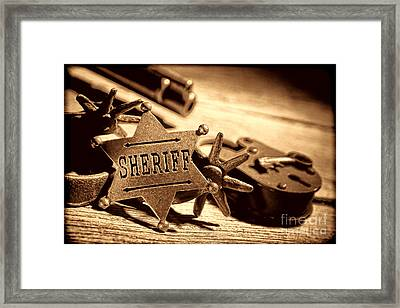 Sheriff Tools Framed Print by American West Legend By Olivier Le Queinec