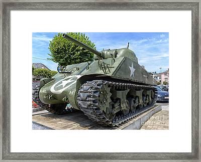 Sherman Tank In Bastogne, Belgium Framed Print by Ivan Batinic