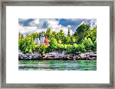 Framed Print featuring the painting Sherwood Point Lighthouse by Christopher Arndt