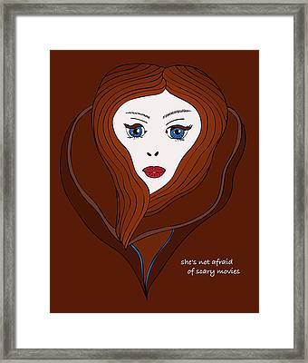 She's Not Afraid Of Scary Movies Framed Print by Frank Tschakert