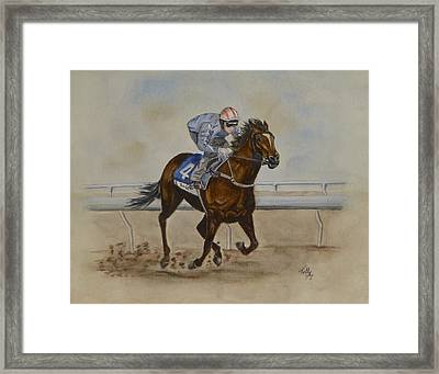 She's Taking The Lead ... Horserace Framed Print