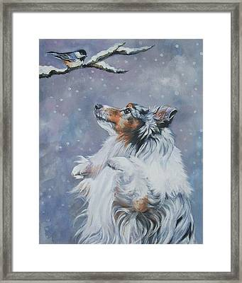 Shetland Sheepdog With Chickadee Framed Print by Lee Ann Shepard